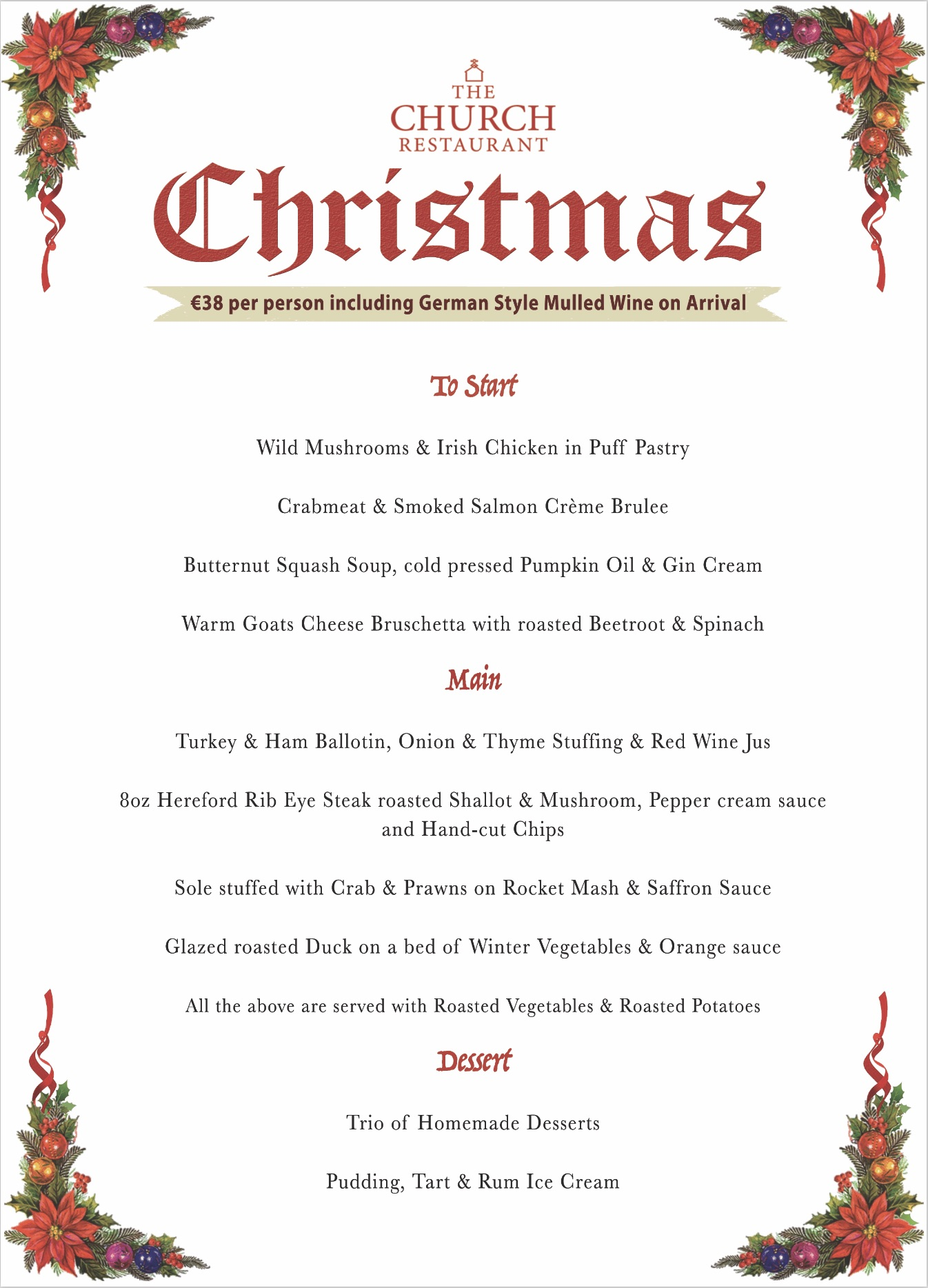 Christmas Menu.The Church Restaurant Christmas Menu 2017 The Church